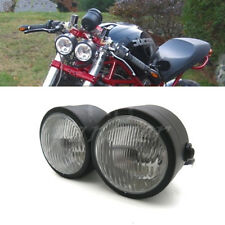 Black Twin Headlight Motorcycle Double Dual Lamp Street Fighter Naked Dominator