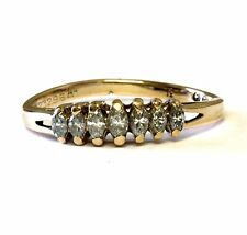 14k yellow gold .31cttw SI2 K ladies marquise diamond anniversary band ring 2.2g