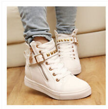 Womens Zipper Lace Up Studded High Top Canvas Sneakers Walking Trainer Shoes US7