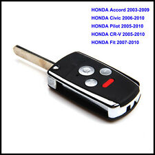 Honda Accord 2003-2009 Remote Key Fob 3+1 4 Button Flip Folding Case Replacement