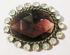 broche ancienne bijou vintage ovale cristaux diamant solitaire améthyste * 3569