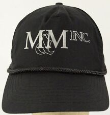 M&M Inc Black Baseball Hat Cap with Snapback Strap Adjust
