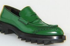 Prada Runway Green Leather Slip On Loafers US 11 UK 10 EU 44