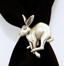 Running Hare Scarf Ring, English Pewter, Handmade in Great Britain, rabbit (h)