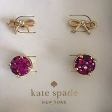 set of 2 Kate Spade New York Earrings,round & bow shape stud, pink sparkle, gold