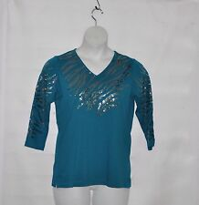 Quacker Factory Zebra Fun Sequin Knit Top Size 1X Teal