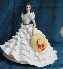 CIVIL WAR GWTW GORGEOUS PORCELAIN DOLL SCARLETT O'HARA~FLOUNCED SKIRT~STRAW HAT