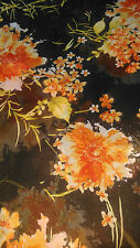 *****CLEARANCE ON CHIFFON CREPE FABRIC**** 58'' BROWN WITH ORANGE FLORAL PRINT