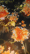 BROWN CHIFFON FABRIC WITH ORANGE FLORAL PRINT & WITH GLITTER ON MATERIAL