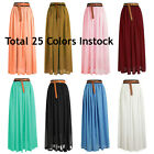 Size S Women Lady Chiffon Pleated Retro Long Maxi Dress Elastic Waist Skirt
