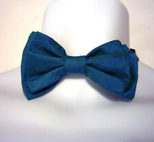 "mens bow tie raw silk blue two tone  adjustable 15"" to 24""  collar"