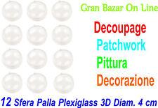 NATALE PALLA SFERA PALLINA PLEXIGLASS 12 Pz DIAM Cm 4 DECOUPAGE PATCHWORK