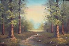 BEAUTIFUL MID CENTURY FOREST PATH OIL ON CANVAS LANDSCAPE LARGE PAINTING HANSON