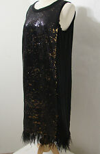 MICHAEL KORS Black Bronze Feather Sequin Sleeveless Sheath Dress NWOT 10