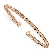 18k Rose Gold Sterling Silver Woven Stackable Cable Cuff Bangle Bracelet