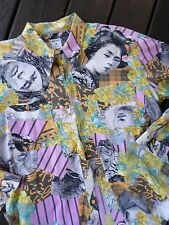 MOSCHINO true vintage pink floral geisha native women history photo print shirt