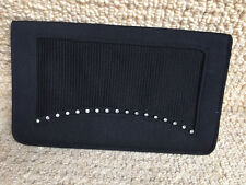 Vintage 1930s Black Crepe/Rhinestone Clutch/Purse RFO Made in England