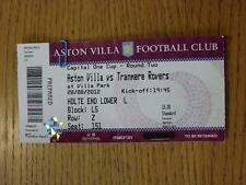 28/08/2012 BIGLIETTO: Aston Villa V Tranmere Rovers FOOTBALL LEAGUE CUP [] (completo