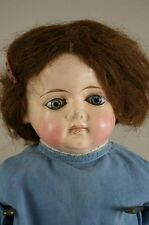 "Antique 22"" Papier Mache Doll - Cloth Body Shoulder Head"