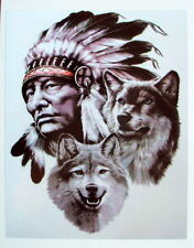 INDIAN & WOLVES COLOUR VINYL STICKER, For Car, Wall, Laptop, Ipad (13 x 16cms)