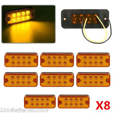 8x Amber 12V 8 LED Universal Side Marker Light Lamp Car Truck Trailer Waterproof