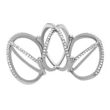 Sterling Silver Full Finger Knuckle Triple X Criss Cross Ring with AAA qualityCZ