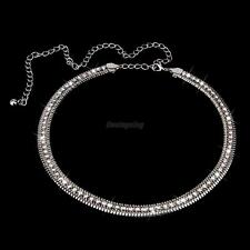 Women Crystal Rhinestone Silver Metal Body Belly Belt Waist Chain Adjustable