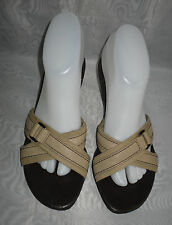 WOMENS  AEROSOLES Beige/Brown Leather/Textile Mid Heel Mules Sandals Size:5/38