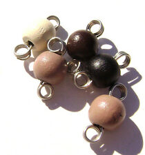 Charm Drop Mix Wood Beads Silver Gold ptd Copper Wire Wrapped Handmade, 10 Qty