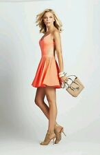 Guess Strappy Open-Back Fit-And-Flare Pink Orange Dress Large