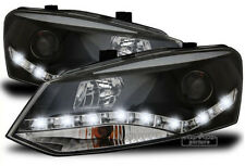 LED TFL daytime running lights headlights in black FOR VW Polo 6R 2009 - 2014