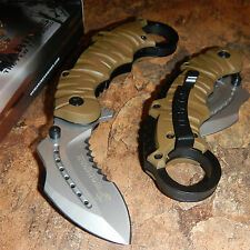 USMC OFFICIAL US MARINES TAN KARAMBIT Ring Finger Tactical Folding Knife!!