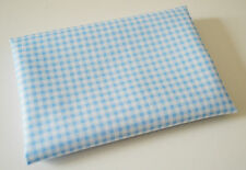 100% Cotton Fabric Material FQ Fat Quarter Pale Baby Blue Mini Gingham Check