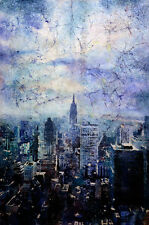 Empire State building in New York.  Fine art print of watercolor batik painting