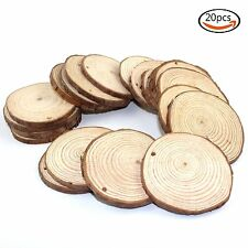 "20pcs 2""-2.5"" Unfinished Natural Blank Wood Slices Circles with Tree Bark Log"