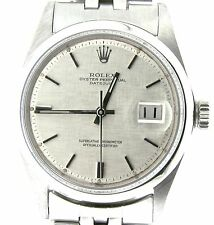 Rolex Datejust Men Stainless Steel Jubilee Bracelet Silver Linen Dial Watch 1603