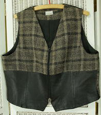 "Vintage MICHEL AMBERS Waistcoat Woven Wool Blend + Faux Leather Vest 46"" Chest"