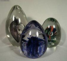 Group of 3 Egg Shaped Artist Signed Studios Art Glass Paperweights Rudin Maytum