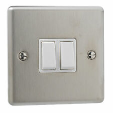 British General Stainless Steel 10A Double 2 Gang 2 Way Light Plate Switch White