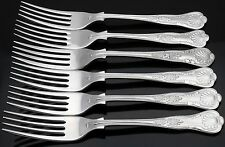 KINGS PATTERN - 6x DESSERT FORKS - MIXED MAKERS- SILVER PLATED ANTIQUE / VINTAGE