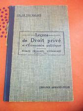 Leçons de droit privé et d'économies politiques ancien livre scolaire1937