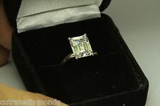 3.00 CT EMERALD CUT ENGAGEMENT RING 14 KARAT WHITE GOL