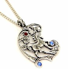 Fire & Ice Fantasy Unicorn Amulet Pendant Necklace Pewter Blue Red Crystals F154
