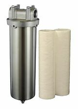 "Stainless Steel Water Filter Housing for 10""L cartridges, Hydro-Genics, 3/4""NPT"