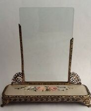 Vintage Brass Filigree Picture Photo Frame With Floral Petit Point Embroidery