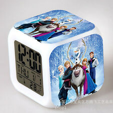 Cute Frozen Figures 7 Color Changing Night Light Alarm Clock Kids Children Toy