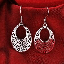 Silver Women's Fashion Jewelry Hollow Drop Dangle Earrings 925 Sterling