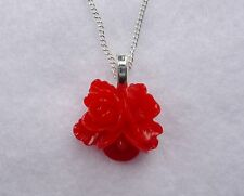 Red Rose Flower Drop Pendant Vintage Kitsch Style Silver Necklace