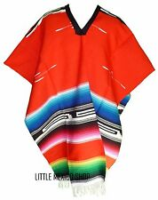 AZTEC SERAPE BLANKET Mexican PONCHO TRIBAL RED - ONE SIZE FITS ALL Blanket Gaban