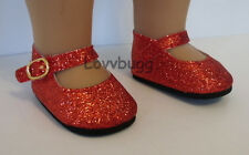 """Red Ruby Slipper Glitter Sparkle Mary Janes Doll Shoes for 18"""" American Girl Wow"""